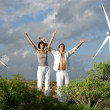 Zen couple on a wind farm — Stock Photo #8476123