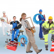 Stock Photo: Building workers, photo-montage