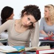 Bored female in class — Stock Photo