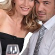 Close-up couple at table — Stock Photo #8477613