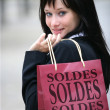 Woman hitting the French sales - Stock Photo