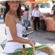 Woman at the market — Stock Photo