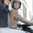 Couple of bikers with crash helmet — 图库照片