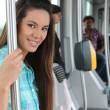 Portrait of a woman in public transportation — Stockfoto