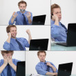 Stock Photo: Employee at work in many situations