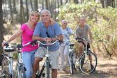 Two elderly couples on bike ride — Stock Photo