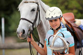 Female polo player — Stock Photo