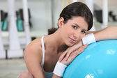 Young woman reposing after fitness — Stock Photo
