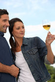 Couple tasting wine in field — Stockfoto