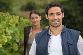 Young farmer stood with wife in vineyard — Stock Photo