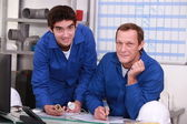 Two depot workers — Stock Photo