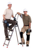 Two workers posing with drills — Stock Photo