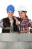 Portrait of a team of bricklayers — Stock Photo