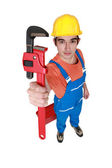 Craftsman holding a spanner — Stockfoto