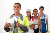Group of workers smiling — Stock Photo