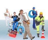 Building workers, photo-montage — Stock Photo