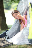 Young woman camping — Stock Photo