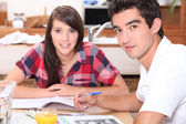 Young couple doing coursework at the kitchen table — Stok fotoğraf