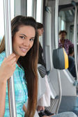 Portrait of a woman in public transportation — Stock Photo