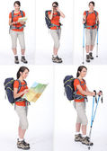A woman with a sportive knapsack — Stock Photo