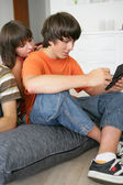 A boy playing video games — Stock Photo