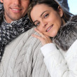 Couple wearing winter clothing — Stock Photo