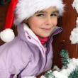 Little girl wearing a Santa hat in a chalet - Stock Photo