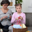 Mother and daughter knitting — Stock Photo #8485694