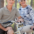 Stock Photo: Elderly couple on bike ride