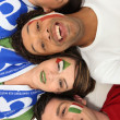 A group of supporting the Italian football team - Stock Photo