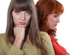 Two upset female friends — Stock Photo