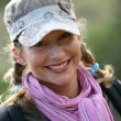 Female backpacker — Stock Photo
