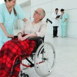 Stock Photo: Woman in wheelchair taken care of