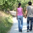 Backview of a couple walking — Stock Photo