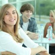 Portrait of teenagers at table — Stockfoto #8535701