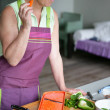 Woman preparing salad — Stock Photo