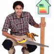 Stock Photo: Well built house help saving energy