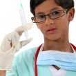 Boy dressed as a nurse — Stock Photo