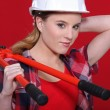 Woman carrying bolt-cutters over shoulder - Stock fotografie