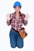 Scared female worker — Stock Photo