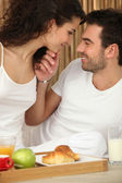 Couple enjoying room service — Stock Photo