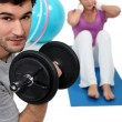 Stock Photo: Couple working out