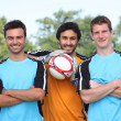 Football player pausing to have their picture taken — Stock Photo