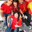 Group of friends supporting Spanish football team — Stock Photo #8542608