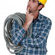 Stock Photo: Pensive electrician