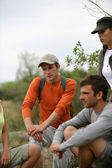 Group of hikers taking a break — Stock Photo
