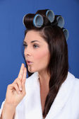 Woman with her hair in large Velcro rollers — Stock Photo