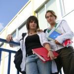 Girls leaving high school — Stock Photo #8552573