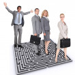Businesspeople stood by maze — Foto Stock