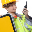 Foto Stock: Child dressed up as construction worker
